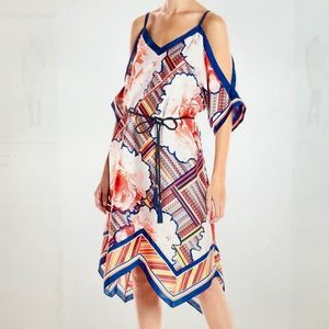 Rachel Roy Scarf Print Cold Shoulder Dress, L